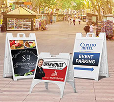 Printed signs & displays including these sturdy & weather proof sidewalk signs